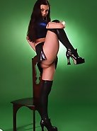 Leather suit makes this svelte sluts extremely attractive in doggy pose