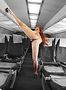 This flexible slut has her own idea about appearance of real air hostess
