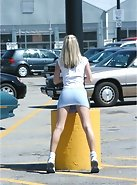 Teen goes shopping and flashes her legs and ass in the parking lot!